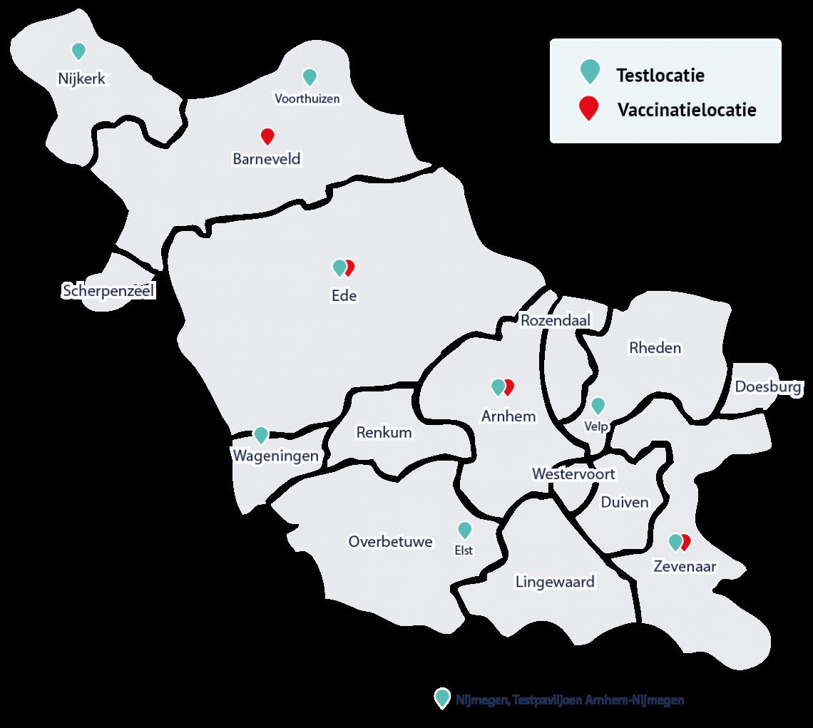Regiokaart test- en vaccinatielocaties Gelderland-Midden