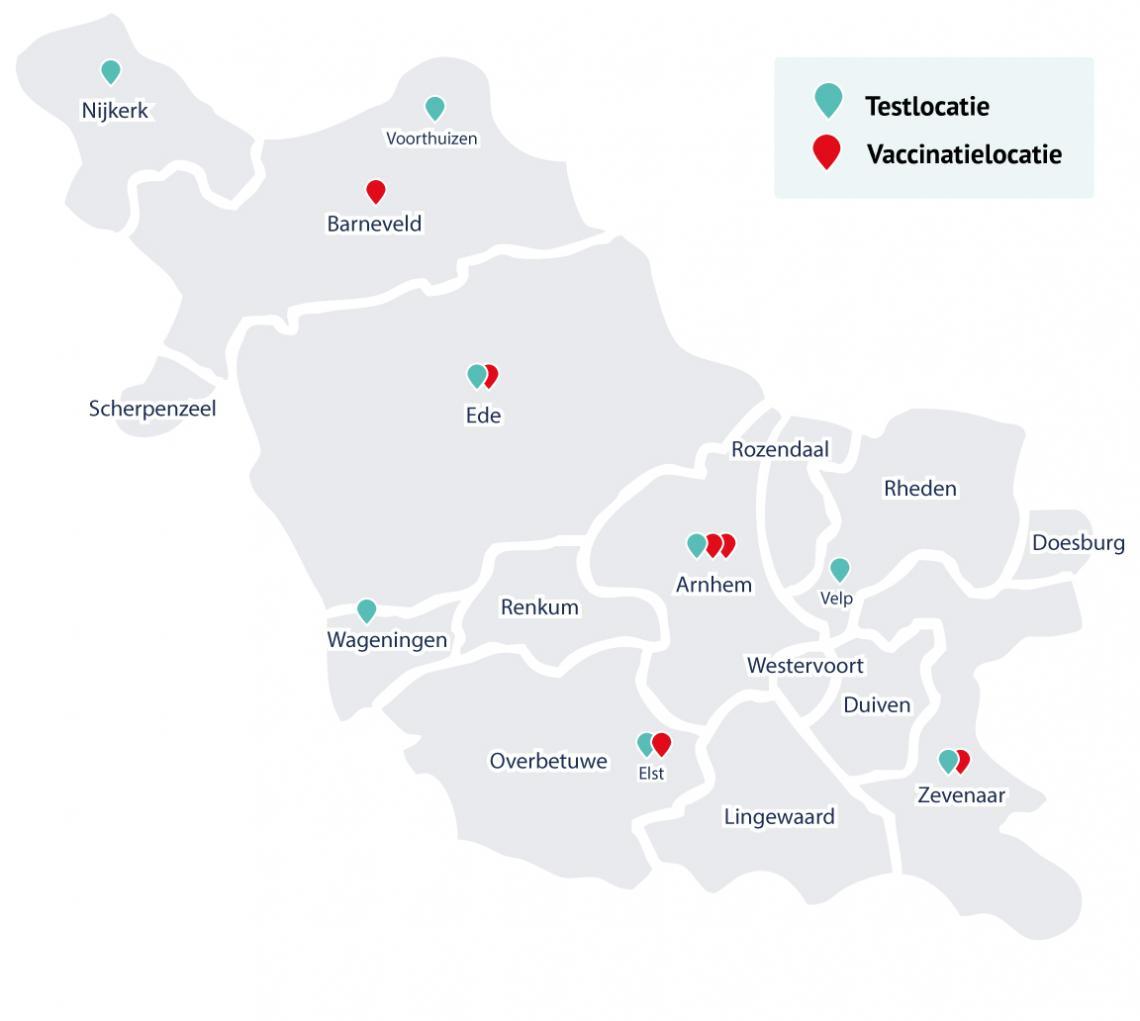Dit zijn de vaccinatie- en testlocaties van GGD Gelderland-Midden